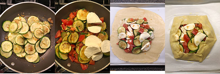 Tarta de zapallo italiano, tomate y mozzarella