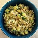 Ensalada de quinoa con zapallo italiano/palta y Ensalada de porotos verdes
