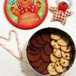 Orange cookies with chocolate chips and light gingerbread cookies