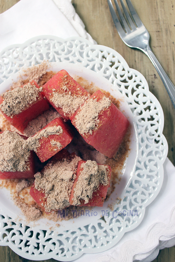 Watermelon with toasted flour