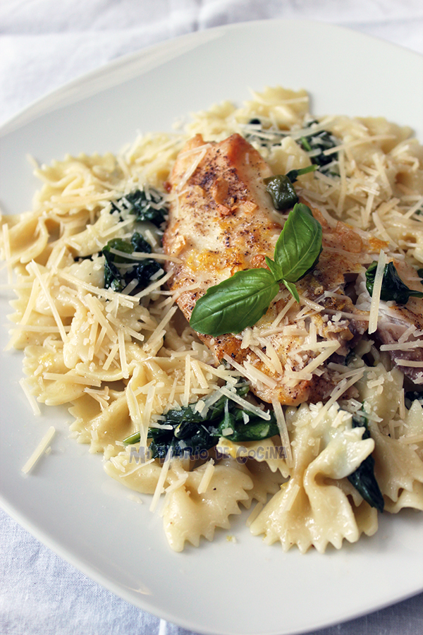 Buttered pasta with spinach, basil, lemon and tilapia