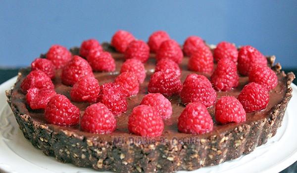 Tarta de chocolate y frambuesa (receta vegana)