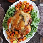 Baked marinated chicken with vegetables