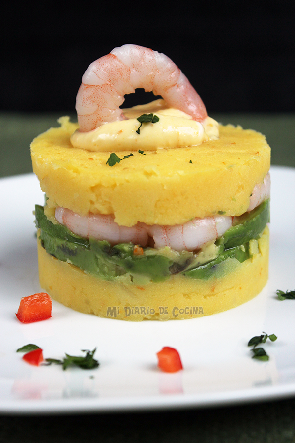 Causa de camarones (Shrimp Causa)