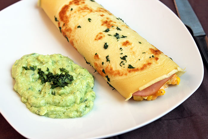 Pancake with Ham, Corn & Avocado