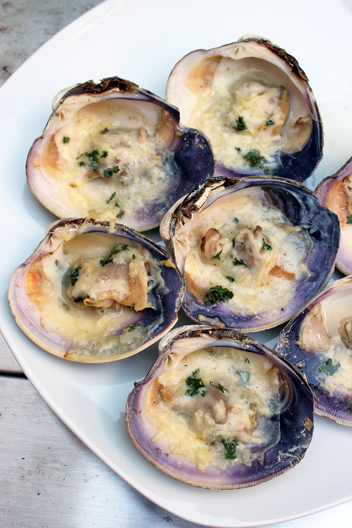 Parmesan clams with El Yucateco sauce