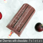 Dark sweet cherries with chocolate Paletas