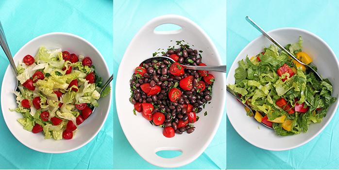 Brochetas de carne y vegetales con dips Kraft - Ensaladas
