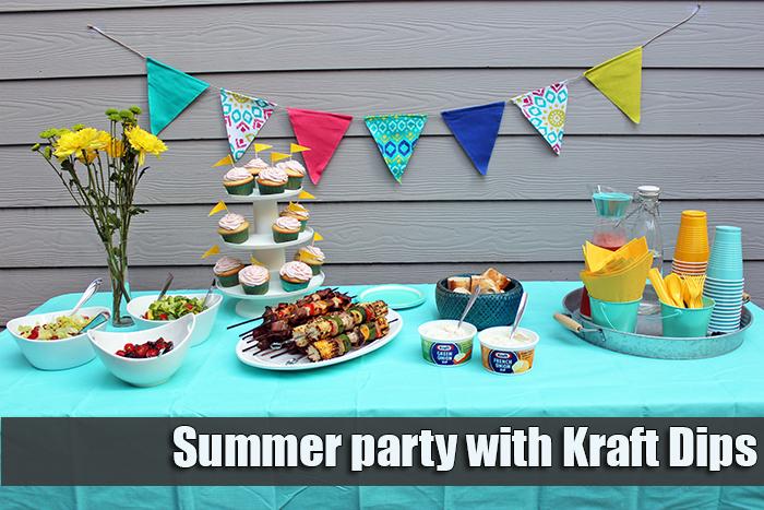 Brochetas de carne y vegetales con dips Kraft