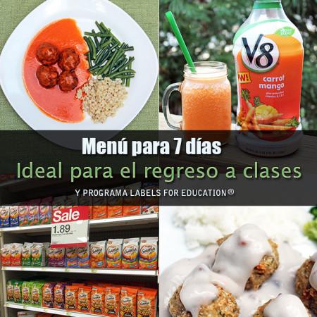 Menú para 7 días, ideal para el regreso a clases - Labels for Education