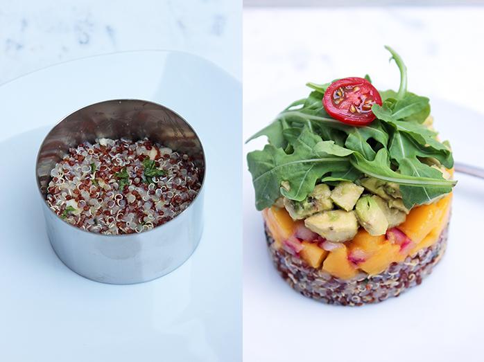 Timbal de quinoa, mango y aguacate - Preparación
