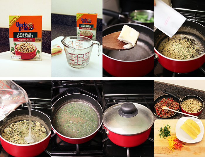 Tacos with beef, rice, peppers, and parsley - Step by step