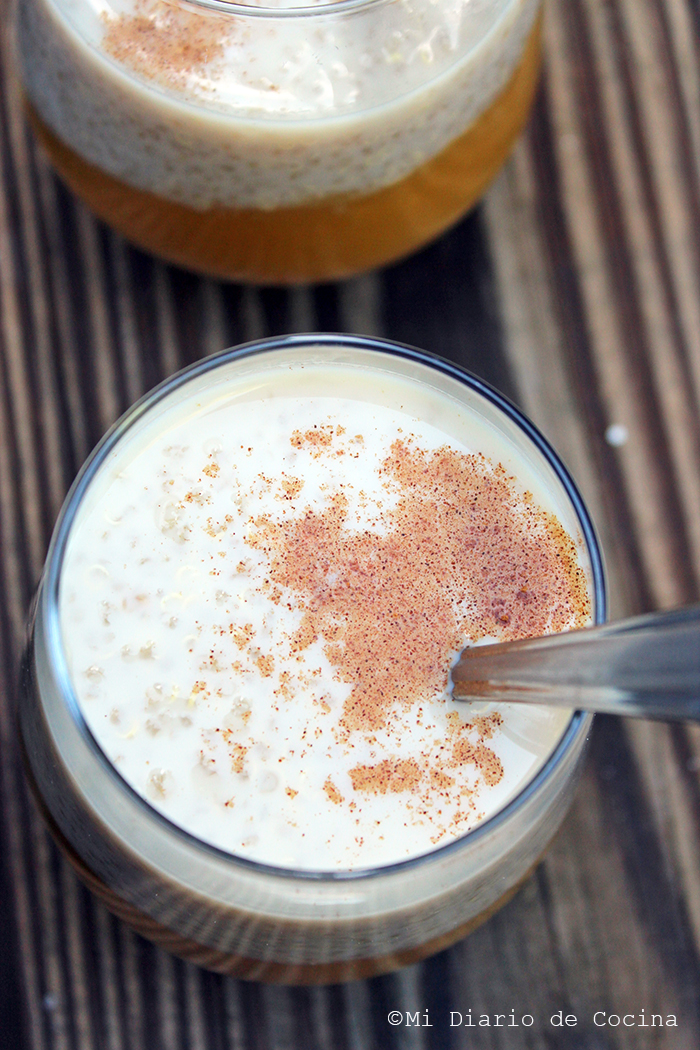 Milk with quinoa and mango