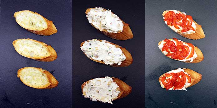 Crostinis with cream cheese and caramelized bell peppers - Preparation