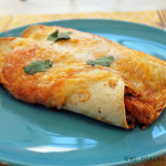 Fish enchiladas with red sauce