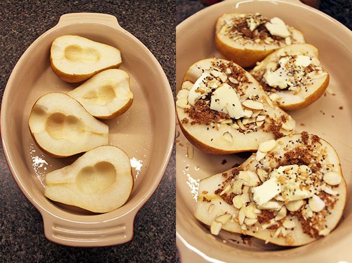 Peras al horno con semillas - Preparación