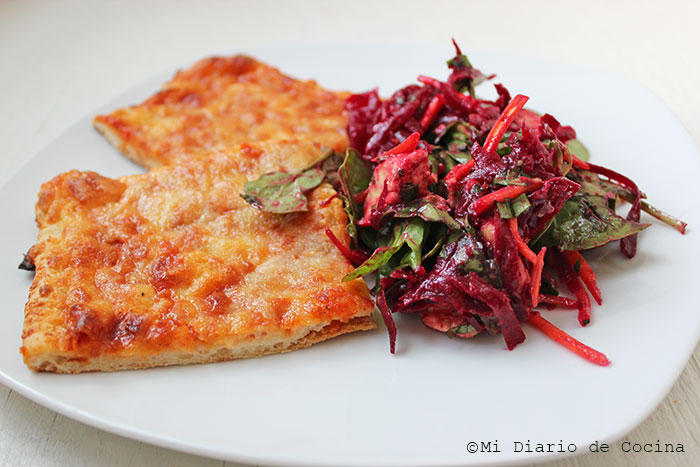 Salad of beet, carrot, and spinach, with Freschetta Pizza