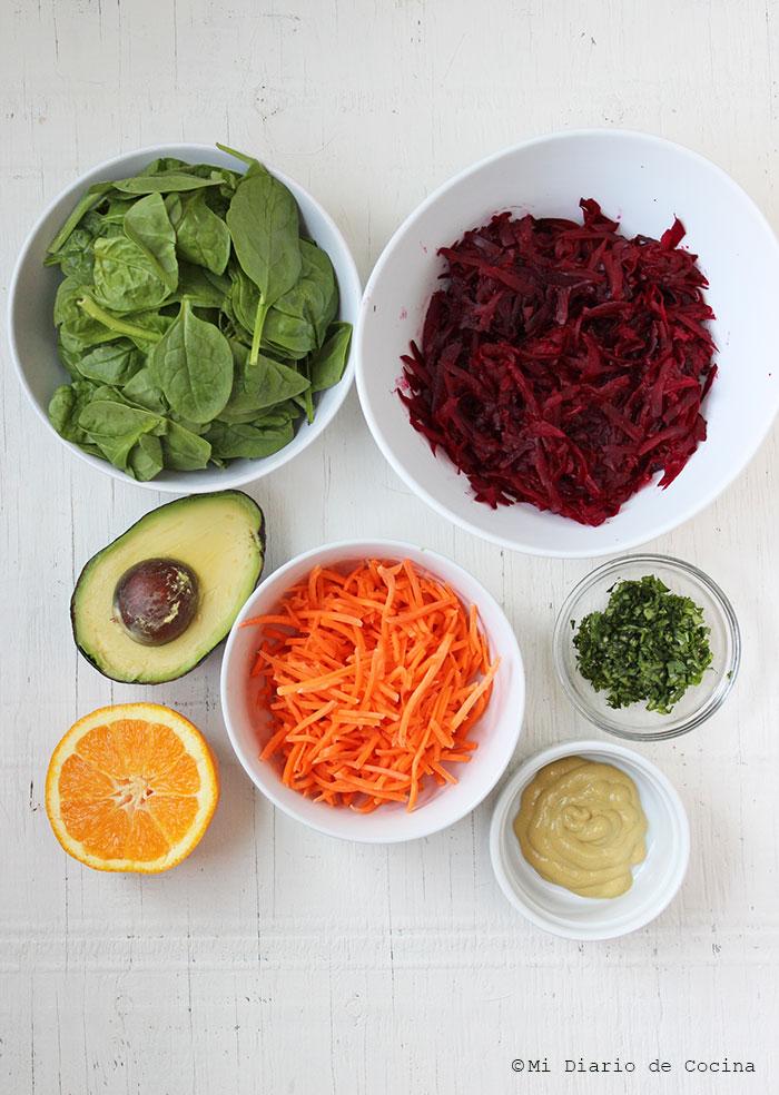 Ensalada de remolacha, zanahoria y espinaca - Ingredientes