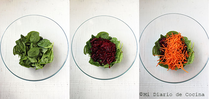 Salad of beet, carrot, and spinach - Step by step
