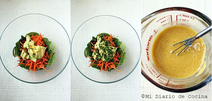 Ensalada de remolacha, zanahoria y espinaca - Paso a paso
