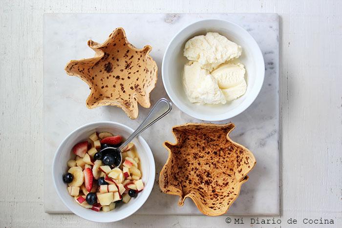 Fruit and ice cream flatbread bowl