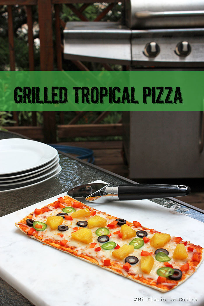 Pizza tropical a la parrilla