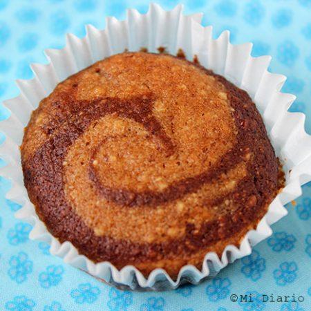 Muffins de banana mármol