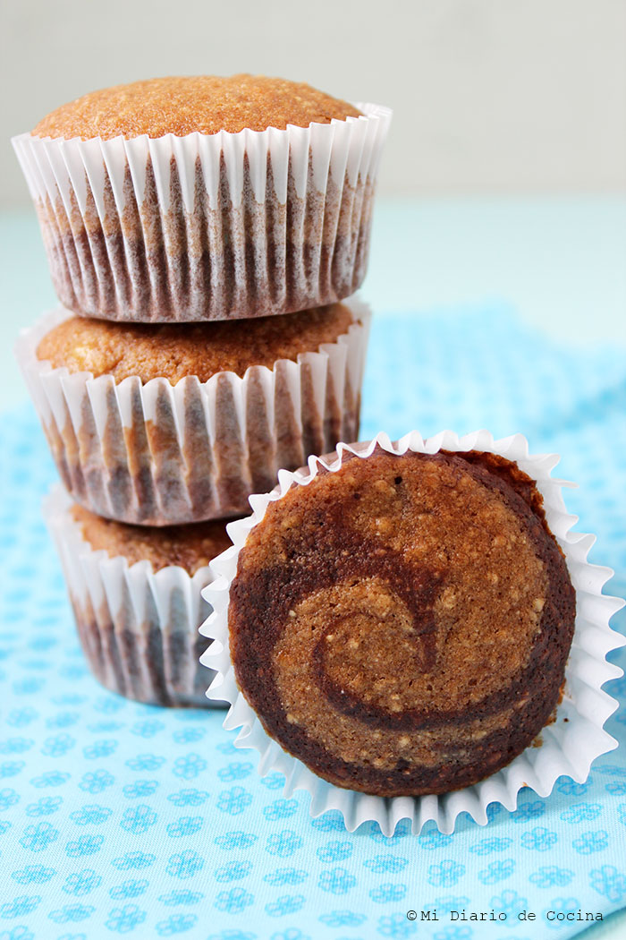 Banana marbled muffins