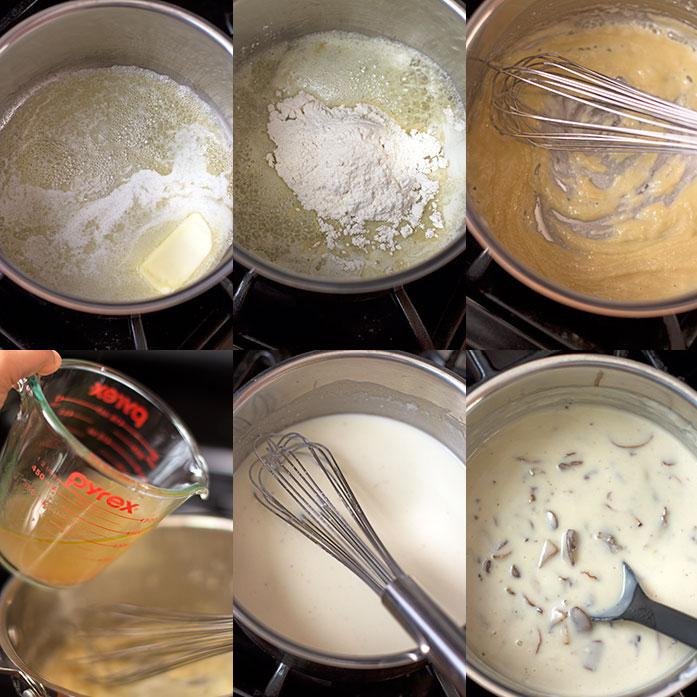 Gallinas con salsa de champiñones y vino - Preparación