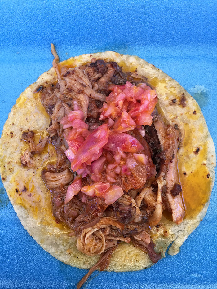 "Taco of ""cochinita pibil"" from Pomuch"