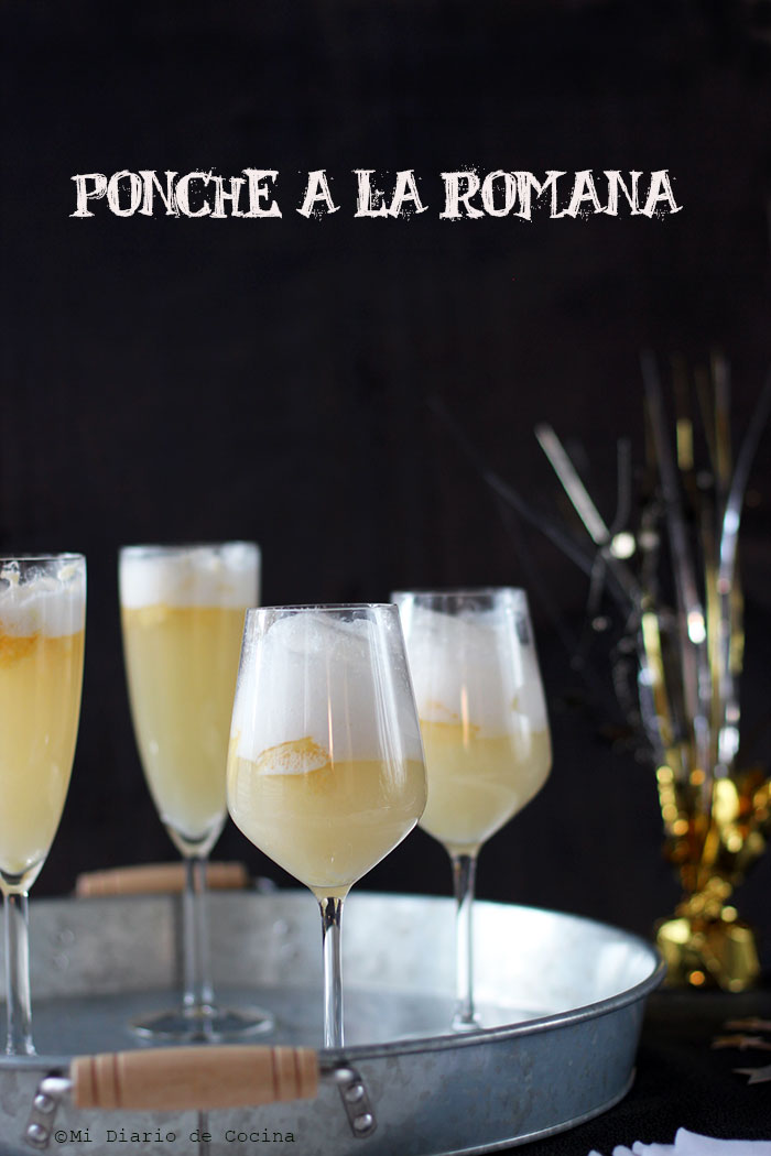 Champagne and pineapple sorbet float