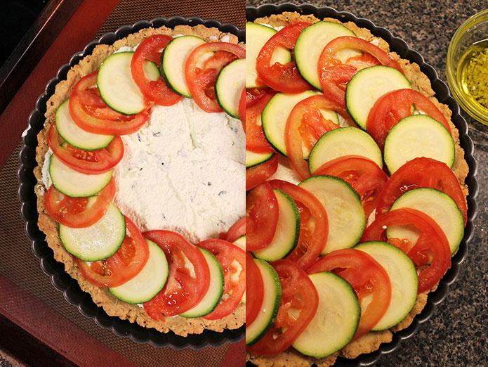Tarta de zapallo italiano y tomate - Preparación