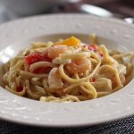 Bertolli® Shrimp Scampi & Linguini Pasta, and spinach salad