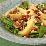Spinach, pear, and pecans salad