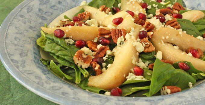 Ensalada de espinacas, peras y nueces
