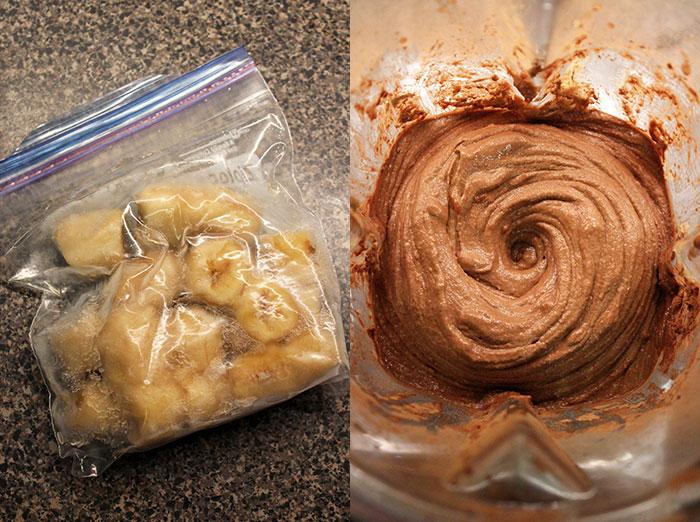 Helado de banana y chocolate