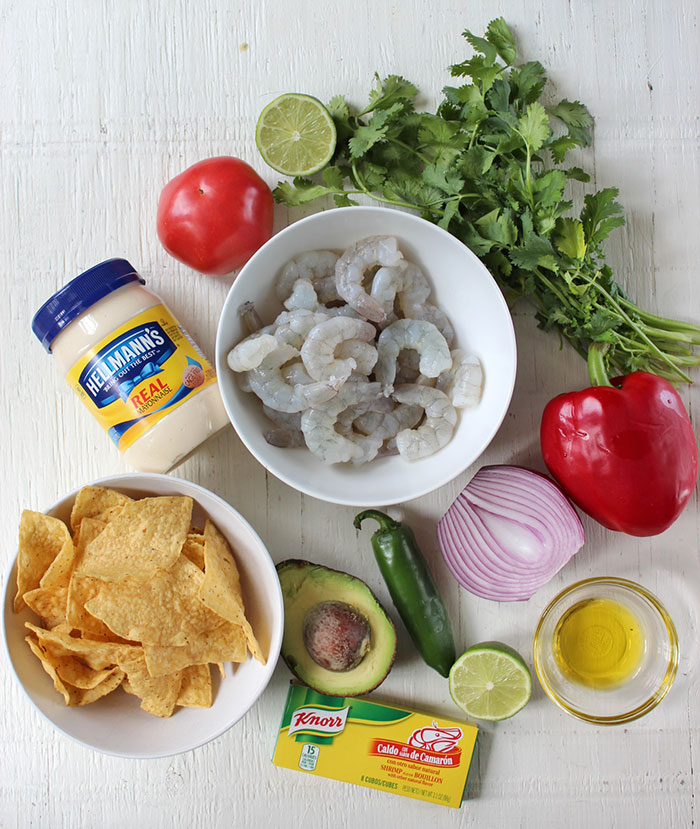 Shrimp ceviche with tortilla chips - Ingredients