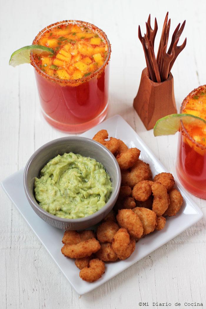 Mango Micheladas with Jalapeño, and Popcorn Shrimp with dip