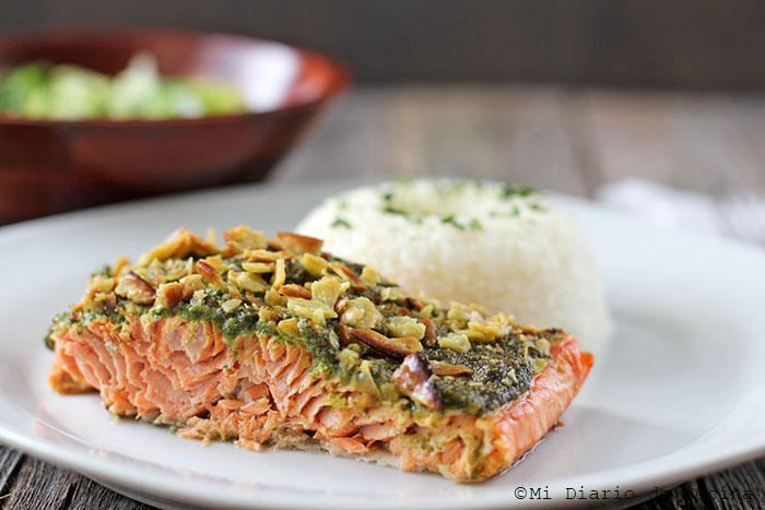Salmon from Alaska with pesto