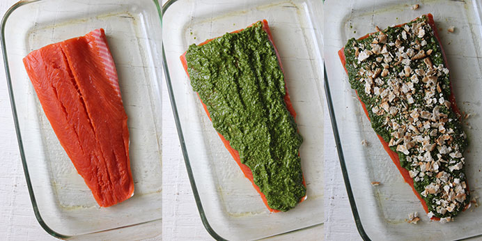 Salmon from Alaska with pesto - Preparation