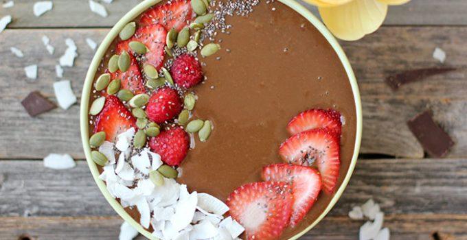 Smoothie en bowl de chocolate