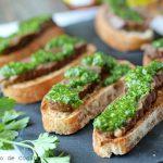 Beef crostini with Chimichurri sauce