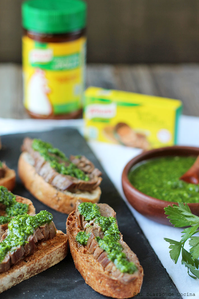 Beef crostini with Chimichurri sauce