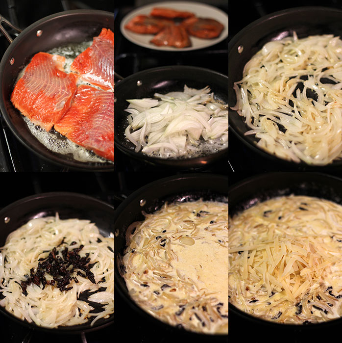 Salmon in cream sauce - Preparation