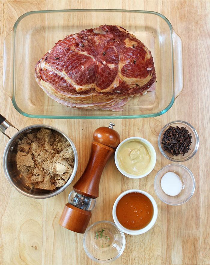 Jamón glaseado con miel y mostaza - Ingredientes