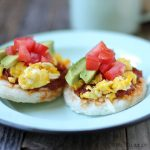 Arepas with mozzarella, chorizo, egg, and avocado