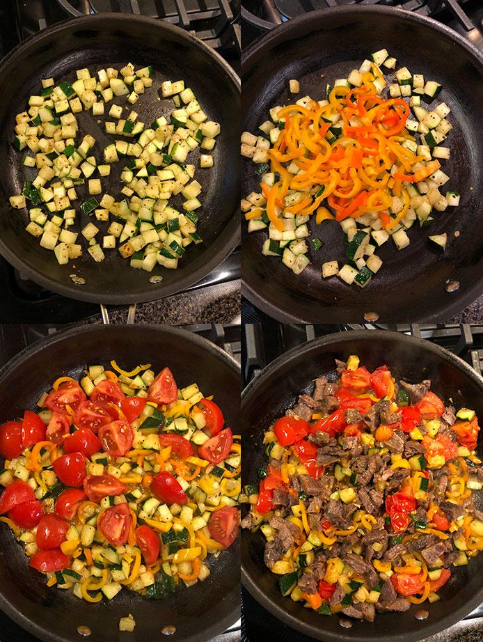 Pasta con carne y vegetales salteados - Cocción salteado