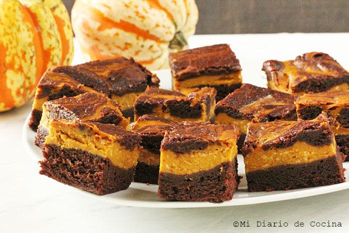 Brownie de cheesecake de zapallo