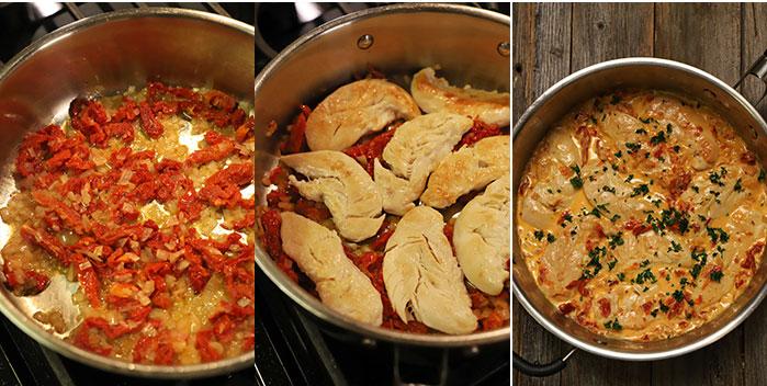 Pollo con salsa de tomate deshidratado