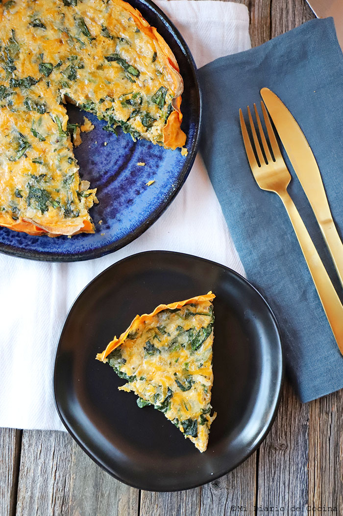 Sweet potato and spinach quiche